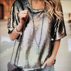 NWT Skies Are Blue gold sequin top